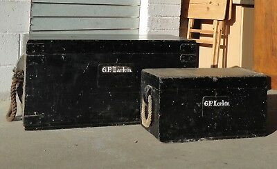 Pine Pair Of Antique Seamans Chest Trunks Chest Rope Handles Coffee Table Larkin