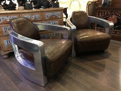 Superb Pair Of Tan Leather & Polished Aluminium Mars Armchairs. Open To Offers.