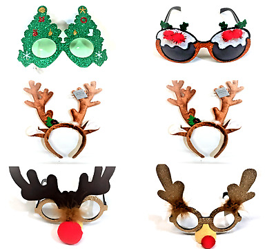 Gisela Graham Christmas Party Glasses Reindeer Hairband Light Up Spectacles