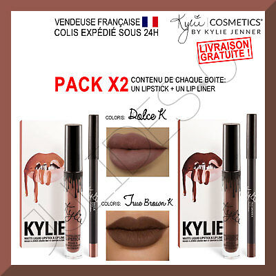 PACK 2 Maquillage make up Lip kit KYLIE JENNER Lipstick DOLCE K et TRUE BROWN K