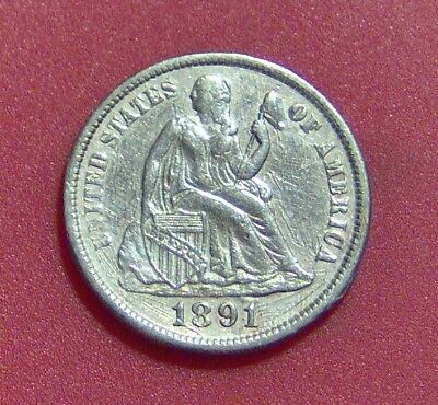 1891 S Cud On Reverse Seated Liberty Dime Silver Ten Cent  Free Shipping B1136