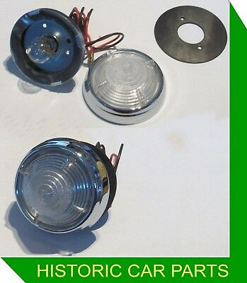 Citroen DS19 1956-60 - 2  Round Clear Finned Reversing lights replace Lucas L539
