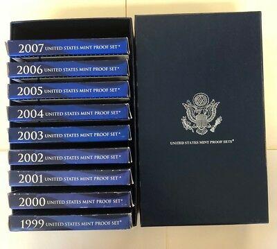 1999-2007 Us Mint 50 State Proof Coin Collection Set+Box+Coa