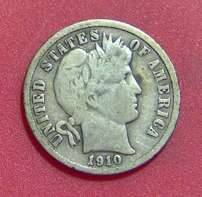 1910 S Barber Dime Silver Ten Cent Piece Free Shipping B1152
