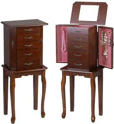 Armoire Jewelry Cabinet Box Storage Chest Stand Organiser Durable Wood Mirror