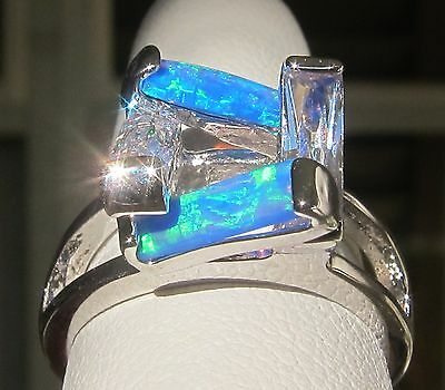 Bizarre Funky Australian Blue Fire opal topaz ring sz 7 AUTHENTIC .925 Sterling