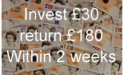 Business opportunity. £30 investment = guaranteed £180 return + £50 referral com