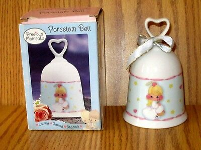 NIB Precious Moments Porcelain Bell Loving Caring Sharing ANGEL ON CLOUD LOVELY