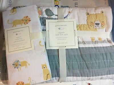 2pc Pottery Barn Kids Organic LITTLE LION QUILT SHEET Crib Baby Toddler Bed NEW