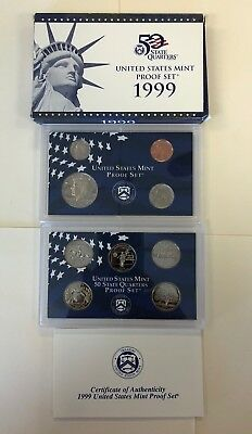 Mix Us Mint 50 State  Proof Coin Collection Set Box Coa &  Silver Set