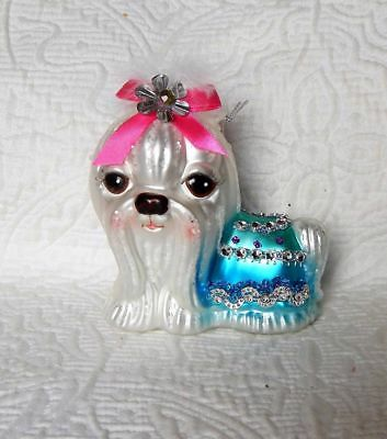 Robert Stanley Glass Christmas Ornament  - White Maltese Dog with Rhinestones