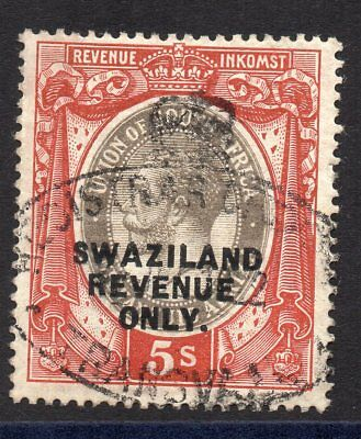 1913 Swaziland Bft:64 5s. Red-Brown & Grey. Very Fine Used Revenue.