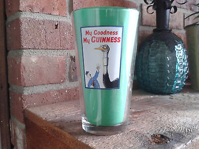 New My Goodness My Guinness Pint Glass Painted Ostrich Sign Label Irish Beer Ex+