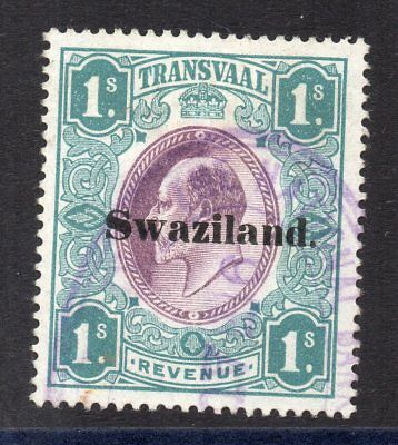 1904 Swaziland on Transvaal Bft:27 1s. Green & Purple. Very Fine Used Revenue.