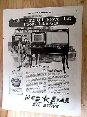 1922 RED STAR Cook Stove The Oil Stove That Cooks Like Gas Print Ad 10 x 14 in