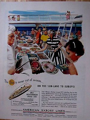 Vintage 50s American Export Lines Cruise Line Print Ad  10 x 13 in