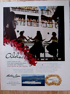Vintage 50s Matson Lines Cruise Line Print Ad  10 x 13 in
