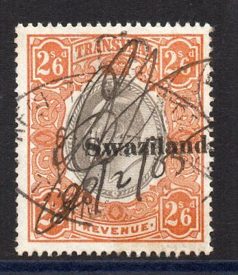 1904 Swaziland on Transvaal Bft:29 2/6 Orange & Black. Very Fine Used Revenue.