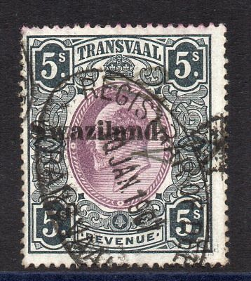 1904Swaziland on Transvaal Bft:30 5s.Olive-Black &Purple.Very Fine Used Revenue.