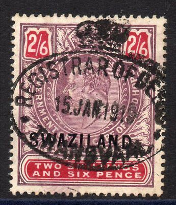 1905 Swaziland on Cape Bft:38 2/6 Violet & Red.Very Fine Used Revenue.