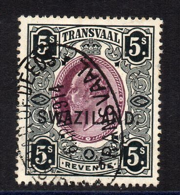 1908 Swaziland on Transvaal Bft:44 Black & Purple Very Fine Used Revenue.