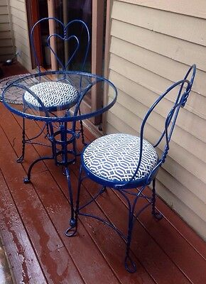 Vintage Ice Cream Parlor Set 2 Chairs/Table Upholstery Blue & White 1 Of A Kind!