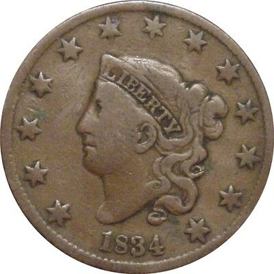 1834 Coronet Cent--Attractive Fine+