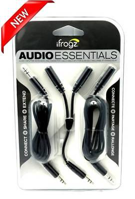 2X NEW iFrogz Audio Essentials Kit Y-Splitter, Extension & Connector Cable