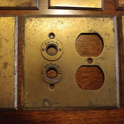 Lot of 6 Vintage Brass Outlet Push Button & Double Switch Plate Covers