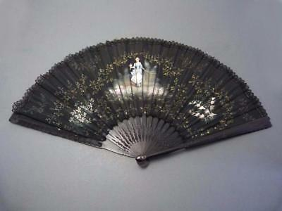 Beautiful antique Victorian hand painted silk evening fan edged in lace