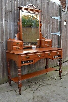 Lovely Antique Mahogany Dressing Table Drawers Mirror Bedroom Boudoir Victorian
