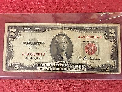 1953A $2 Dollar Bill Old Us Note Legal Tender Paper Money Currency Red Seal