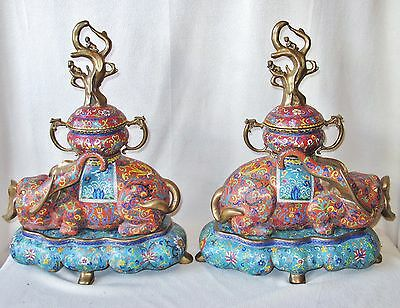 """Big Pair of Heavy Chinese Cloisonne Elephant Urns w/ Trees & Stands (18.3"""" Tall)"""