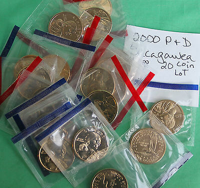 2000 Wholesale Sacagawea 20 Coin Lot P & D Cello Coins from US Mint UNC #R