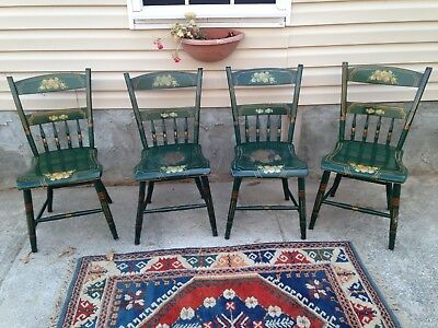 4 Very Nice Green Stenciled Painted Plank Bottom Chairs