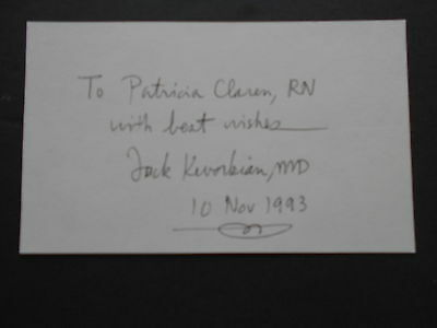 Jack Kevorkian, M.D. Index Card Signed, Inscribed, Dated
