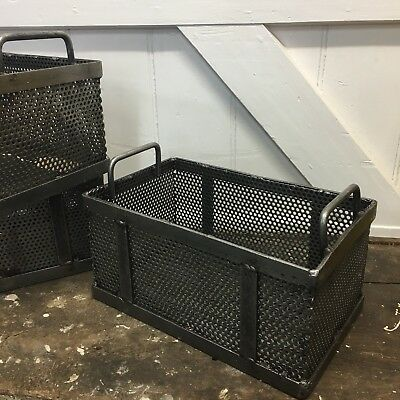 Industrial Vintage Metal Factory Foundry Storage Crates Bins