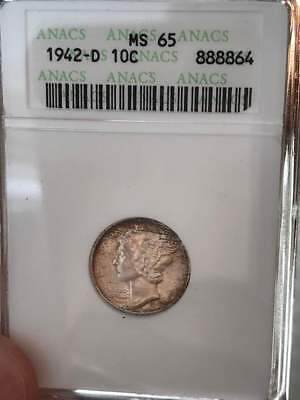 1942 d Mercury Dime ANACS MS 65 with toning  Beautiful!