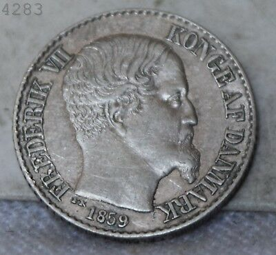"""1859 *Silver* Denmark West Indies 5 Cents """"XF"""" *Free S/H After 1st Item*"""