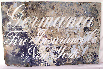 Antique Germania Fire Insurance Co New York Marbled Porcelain Sign 11X17 Guc