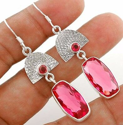 """22CT Rubellite Tourmaline 925 Solid Sterling Silver Earrings Jewelry 2 1/3"""" Long"""