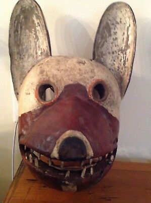 Old Carved African Primitive Tribal Wood Mask Scary Animal / Dog - Painted