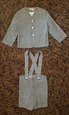 Vintage Classic Plaid Merry Mites Boys Suspender Shorts and Jacket Size 4