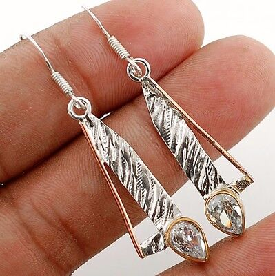 Three Tone- White Topaz 925 Solid Sterling Silver Earrings Jewelry 1 7/8'' Long