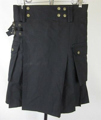 Modern Kilt Men's Black 100% Cotton Canvas Utility Pocket Pleated Kilt Size 30