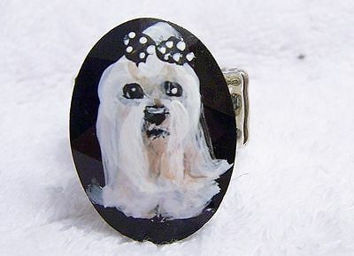 hand painted  Maltese faceted black stone stretch ring one size fits most