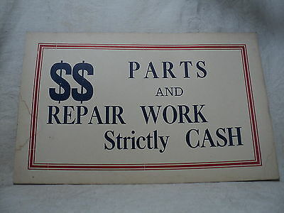"""Vintage 1920-30's Sign 7x11"""" Parts and Repair Work Strictly Cash"""
