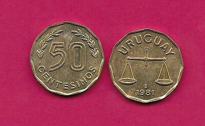 Uruguay Rep 50 Centesimos 1981 Xf Scale,12 Sided,value Flanked By Sprigs