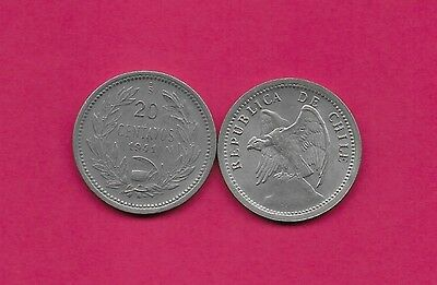 Chile Rep 20 Centavos 1941 Vf-Xf Defiant Condor On Rock Left,with O. Roty At Bot