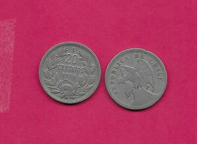 Chile Rep 20 Centavos 1924 Vf-Xf Defiant Condor On Rock Left,no O. Roty At Bot